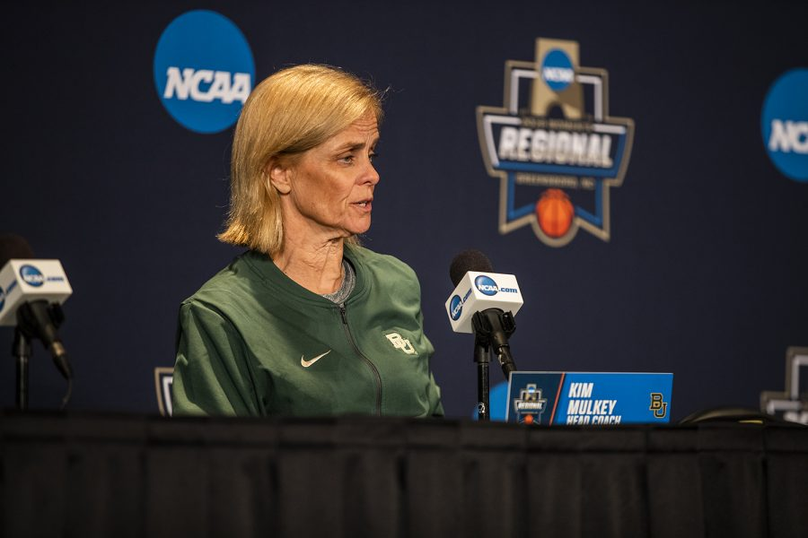 Baylor head coach Kim Mulkey addresses the media during the Baylor press conference at the Greensboro Coliseum on Sunday, March 31, 2019.