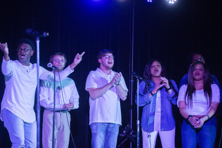 The University of Iowa Gospel Choir performs in the Iowa Memorial Union on Sunday, April 28, 2019.