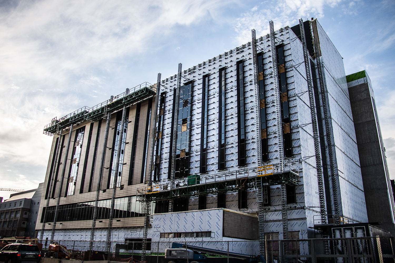 The new College of Pharmacy building, which is currently being constructed, is seen on Tuesday, April 16, 2019.