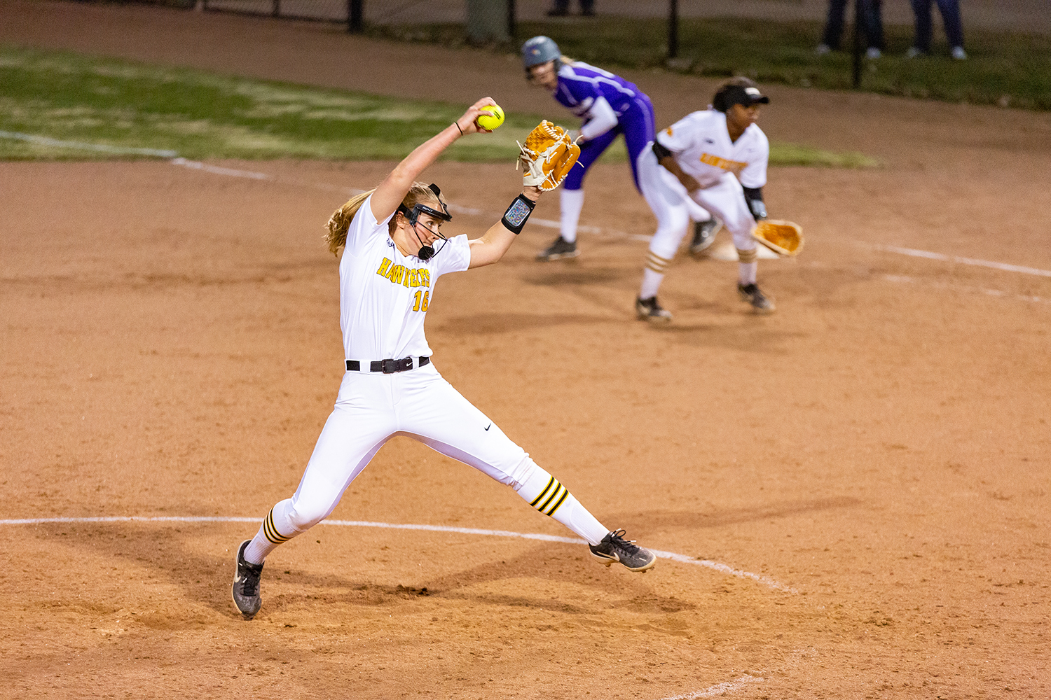 Iowa pitcher Sarah Lehman winds up to pitch during a softball game against Western Illinois on Wednesday, Mar. 27, 2019. The Fighting Leathernecks defeated the Hawkeyes 10-1.
