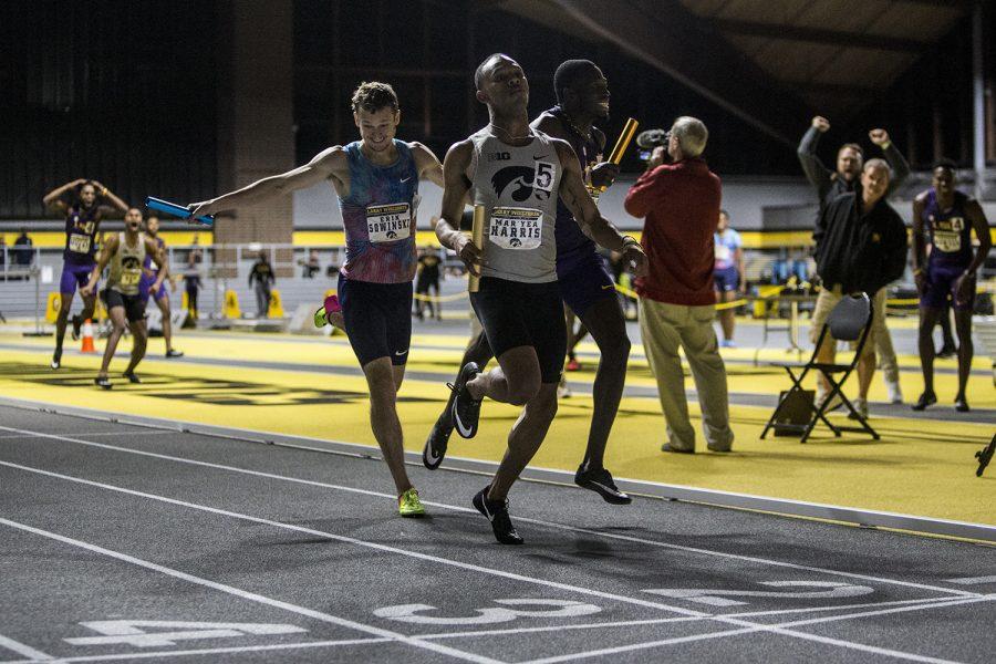 Iowa's Mar'yea Harris crosses the finish line during the 4x400 meter relay during the Larry Wieczorek Invitational on Saturday, Jan. 20, 2017.