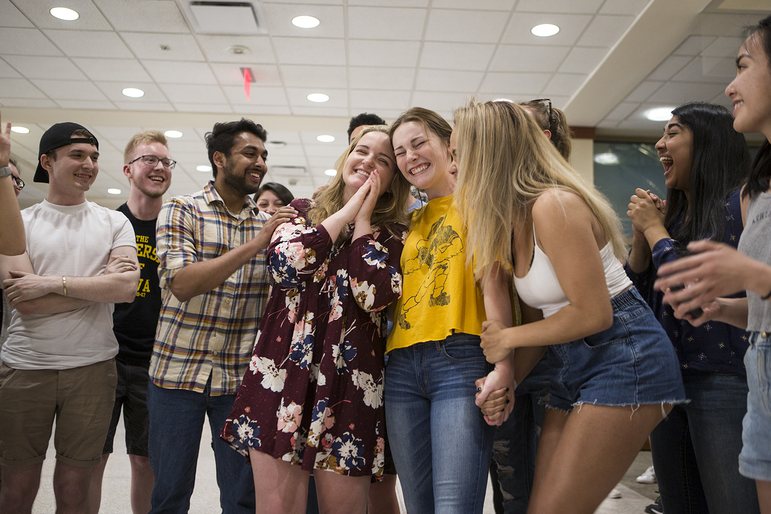 UISG president-elect, Noel Mills, and vice president-elect, Sarah Henry, celebrate winning the 2019 UISG Executive ballot at the IMU on Monday, April 8, 2019. Ignite Iowa received the majority of votes at 1,568 or 53.28%. (Alyson Kuennen/The Daily Iowan)