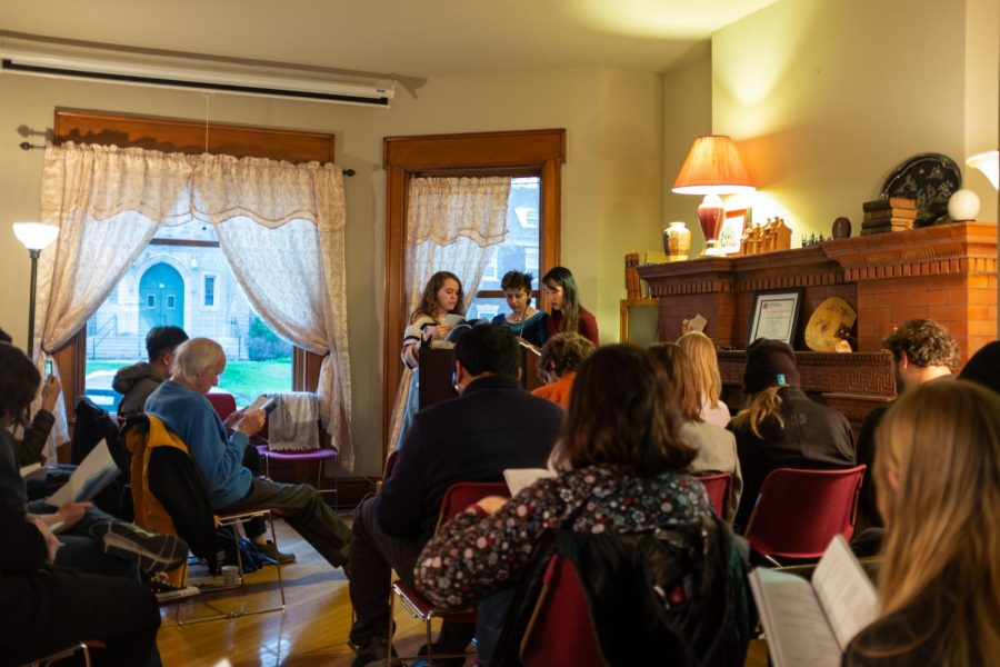 Members of the Translate Iowa Project read from the play Cutting, which discusses female genital mutilation, on Saturday, April 27. The student-run literary magazine, which launched its third issue over the weekend, transcribes written works into a plethora of languages.