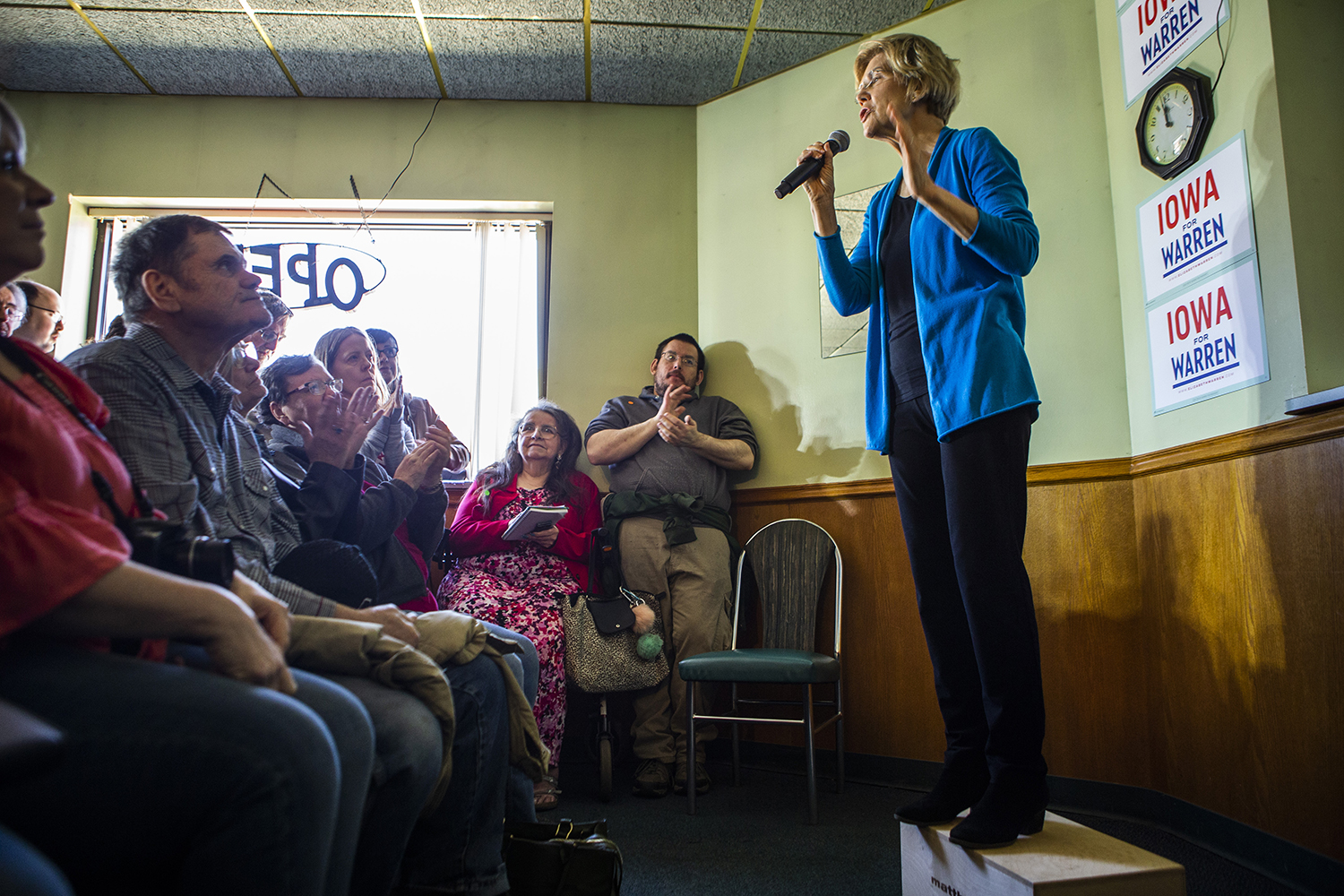 Sen. Elizabeth Warren, D-Mass., speaks during a presidential campaign event at the Tipton Family Restaurant in Tipton on Friday, April 26, 2019.