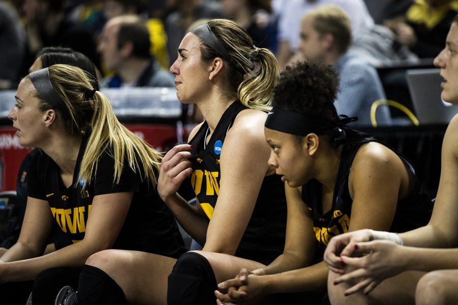 Iowa forward Hannah Stewart gets emotional at the end of the NCAA Elite 8 game against Baylor at the Greensboro Coliseum Complex on Monday, April 1, 2019. The Bears defeated the Hawkeyes 85-53.