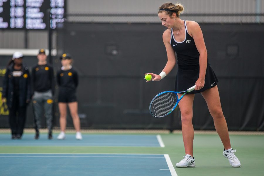 Iowa%27s+Sophie+Clark+prepares+to+serve+during+a+women%27s+tennis+match+between+Iowa+and+Rutgers+at+the+HTRC+on+Friday%2C+April+5%2C+2019.+The+Hawkeyes+defeated+the+Scarlet+Knights%2C+6-1.