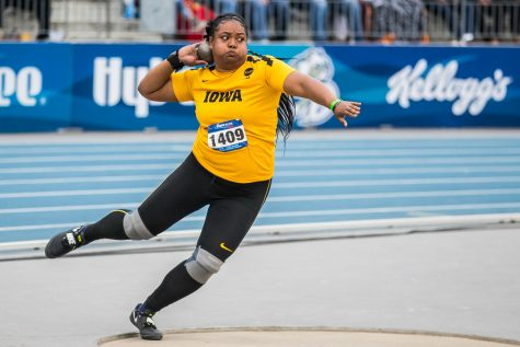 Iowa's Laulauga Tausaga winds up to throw during the women's shot put at the 2019 Drake Relays in Des Moines, IA, on Friday, April 26, 2019. Tausaga earned 2nd with a distance of 16.36m.