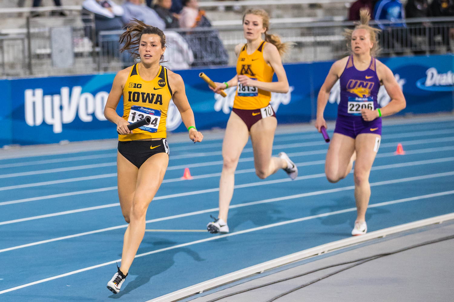 Iowa's Taylor Arco runs in the women's 4x800m race at the 2019 Drake Relays in Des Moines, IA, on Friday, April 26, 2019. Iowa earned second in the event with a time of 8:31.84.