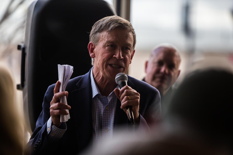 Former Colorado Gov. John Hickenlooper speaks at Backpocket Brewery in Coralville on Friday, April 12, 2019.