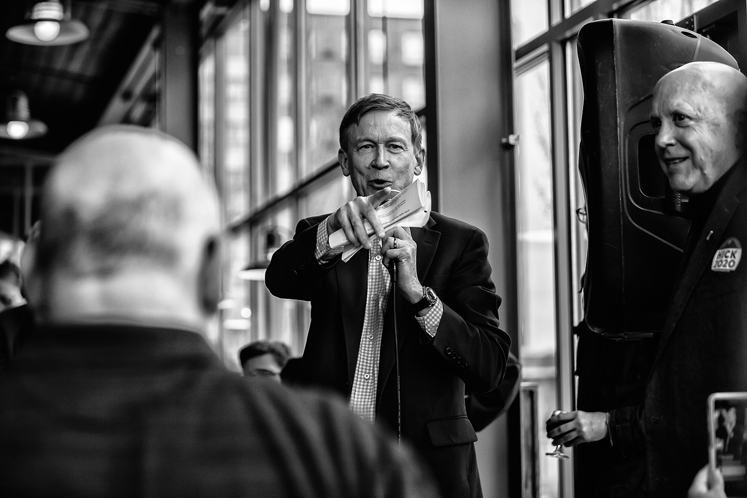 Former+Colorado+Gov.+John+Hickenlooper+calls+on+a+question+at+Backpocket+Brewery+in+Coralville+on+Friday%2C+April+12%2C+2019.