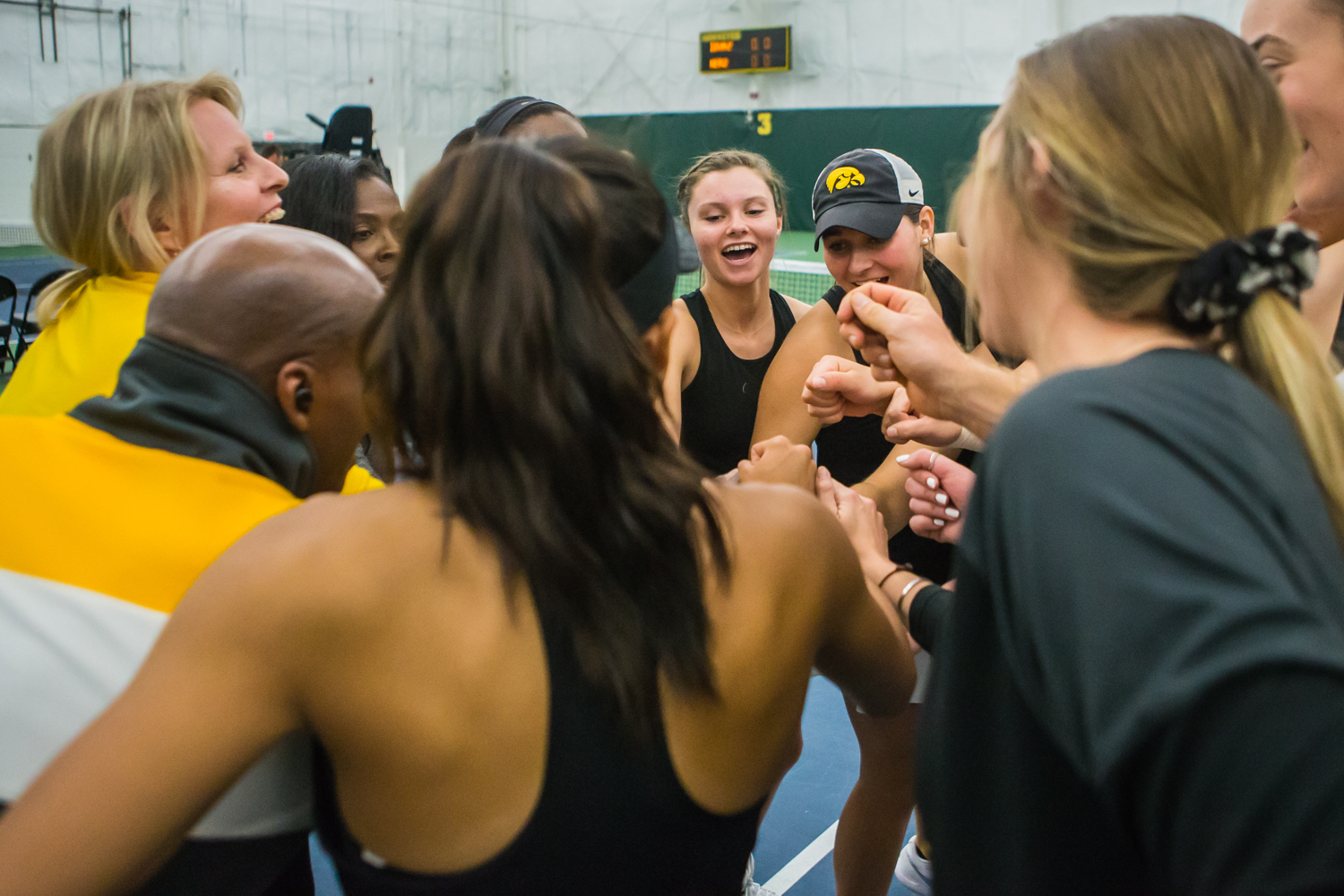 Iowa+players+huddle+before+a+women%27s+tennis+match+between+Iowa+and+Nebraska+at+the+HTRC+on+Saturday%2C+April+13%2C+2019.+The+Hawkeyes%2C+celebrating+senior+day%2C+fell+to+the+Cornhuskers%2C+4-2.