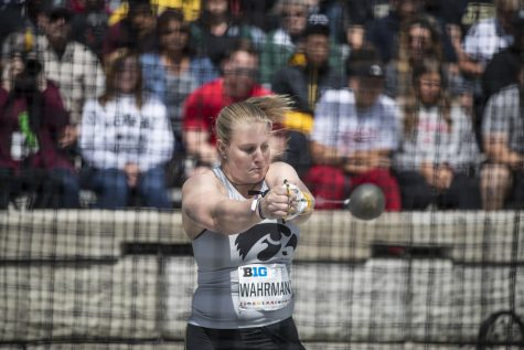 University of Iowa Junior Allison Wahrman throws the hammer during the first day of the Big Ten Track and Field Outdoor Championships at Cretzmeyer Track on Friday, May 10, 2019. Wahrman placed twenty-first in the hammer throw at a distance of 166' 10