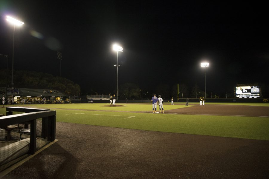 Duane Banks Field, on Wednesday, is seen in the ninth inning of a baseball game between the Hawkeyes and Western Illinois at Duane Banks Field, on Wednesday, on May 1, 2019. The Hawkeyes beat the Leathernecks 8-7.