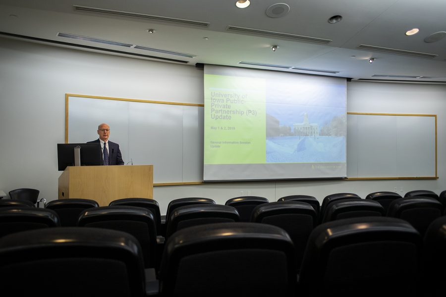 University Chief Financial Officer and Treasurer Terry Johnson speaks about the Public-Private Partnership process at a forum about the University of Iowa becoming a P3 school on May 1, 2019.