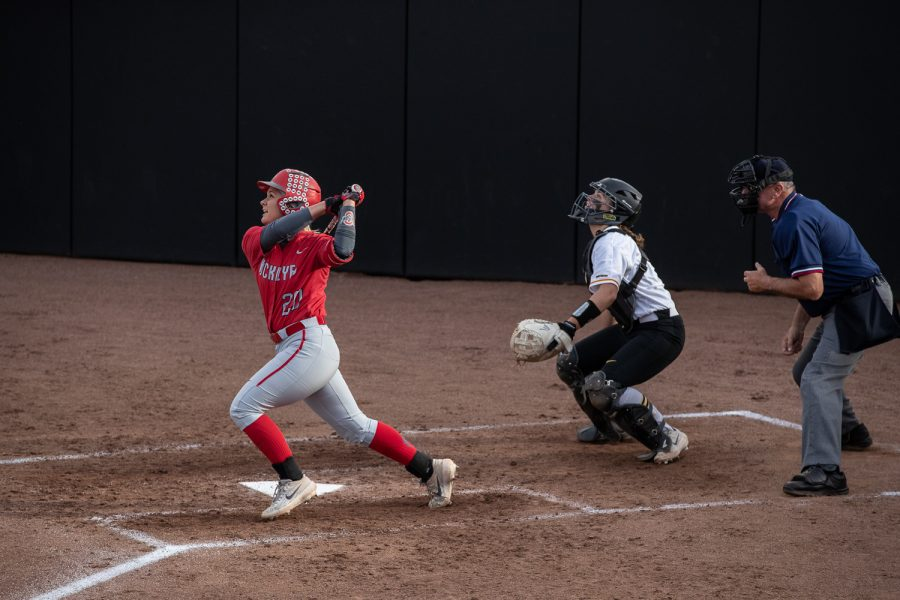 Ohio State catcher Emily Clark swings during the game at the Bob Pearl Softball field on Friday, May 3, 2019. The Hawkeyes defeated the Buckeyes 1-0.