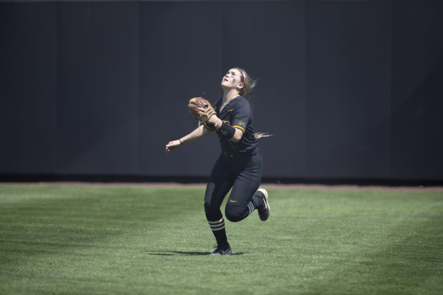 Iowa+infielder+Cameron+Cecil+runs+before+catching+the+ball+during+the+game+against+Ohio+State+at+the+Bob+Pearl+Softball+field+on+Saturday%2C+May+4%2C+2019.+The+Hawkeyes+were+defeated+by+the+Buckeyes+0-10.