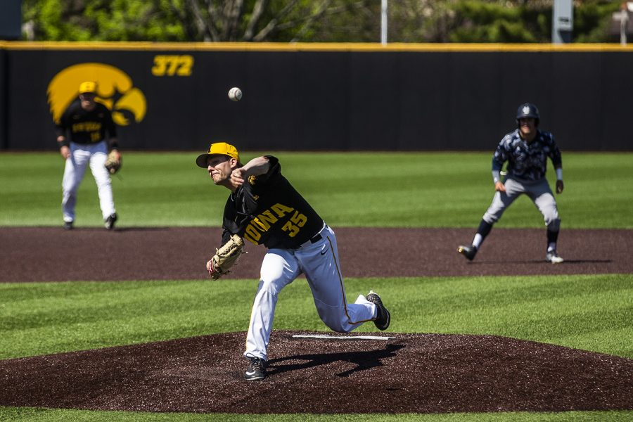 Iowa+pitcher+Cam+Baumann+throws+the+ball+during+the+game+against+UC+Irvine+at+Duane+Banks+Field+on+Saturday%2C+May+4%2C+2019.+The+Hawkeyes+defeated+the+Anteaters+1-0.