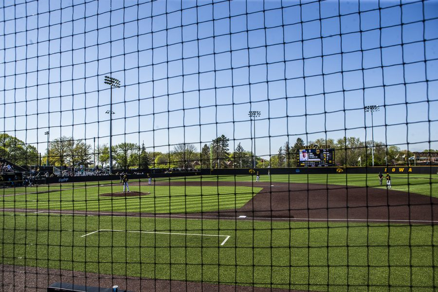Players+prepare+for+the+inning+during+the+game+against+UC+Irvine+at+Duane+Banks+Field+on+Saturday%2C+May+4%2C+2019.+The+Hawkeyes+defeated+the+Anteaters+1-0.