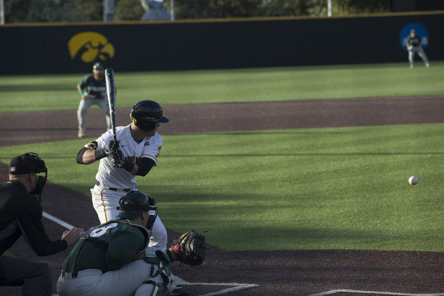 Iowa+infielder+Tanner+Wetrich+watches+the+ball+when+up+at+bat+during+the+game+against+Michigan+State+at+the+Duane+Banks+Baseball+Stadium+on+Friday%2C+May+10%2C+2019.+The+Hawkeyes+defeated+the+Spartans+7-5.