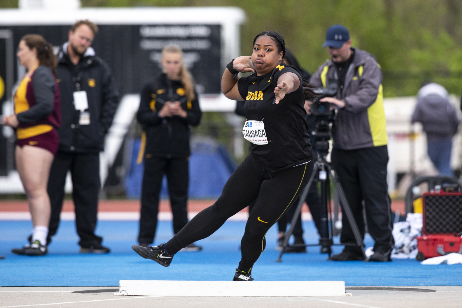 University of Iowa junior Laulauga Tausaga competes in the shot put during the second day of the Big Ten Track and Field Outdoor Championships at Cretzmeyer Track on Saturday, May 11, 2019. Tausaga placed third in the women shot put finals.