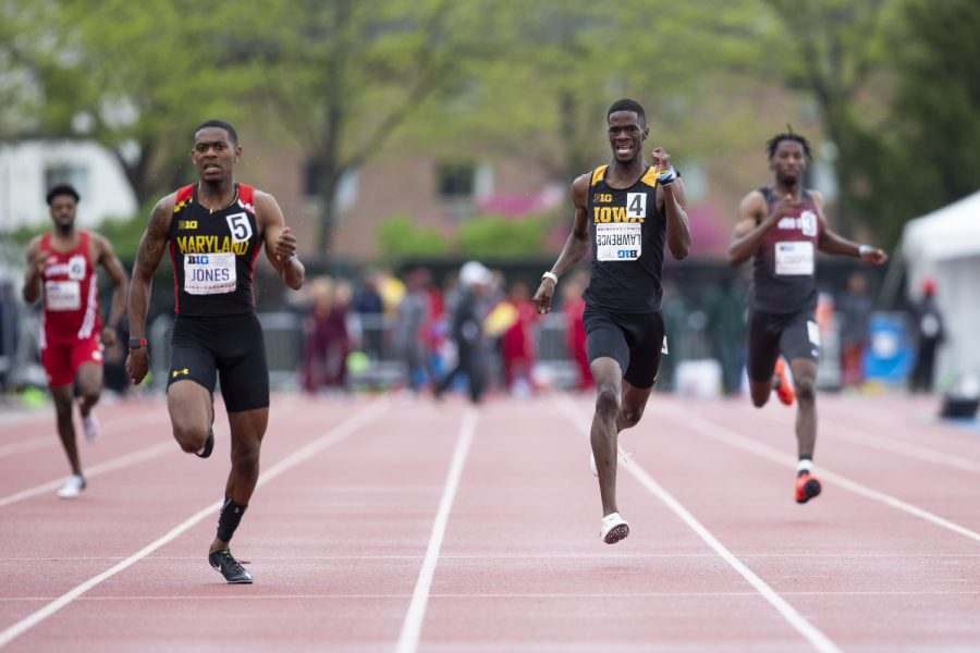 University+of+Iowa+freshman+Wayne+Lawrence+Jr.+competes+in+the+400+meter+dash+preliminaries+during+the+second+day+of+the+Big+Ten+Track+and+Field+Outdoor+Championships+at+Cretzmeyer+Track+on+Saturday%2C+May+11%2C+2019.+Lawrence+placed+ninth+in+the+400+meter+dash+preliminaries.+