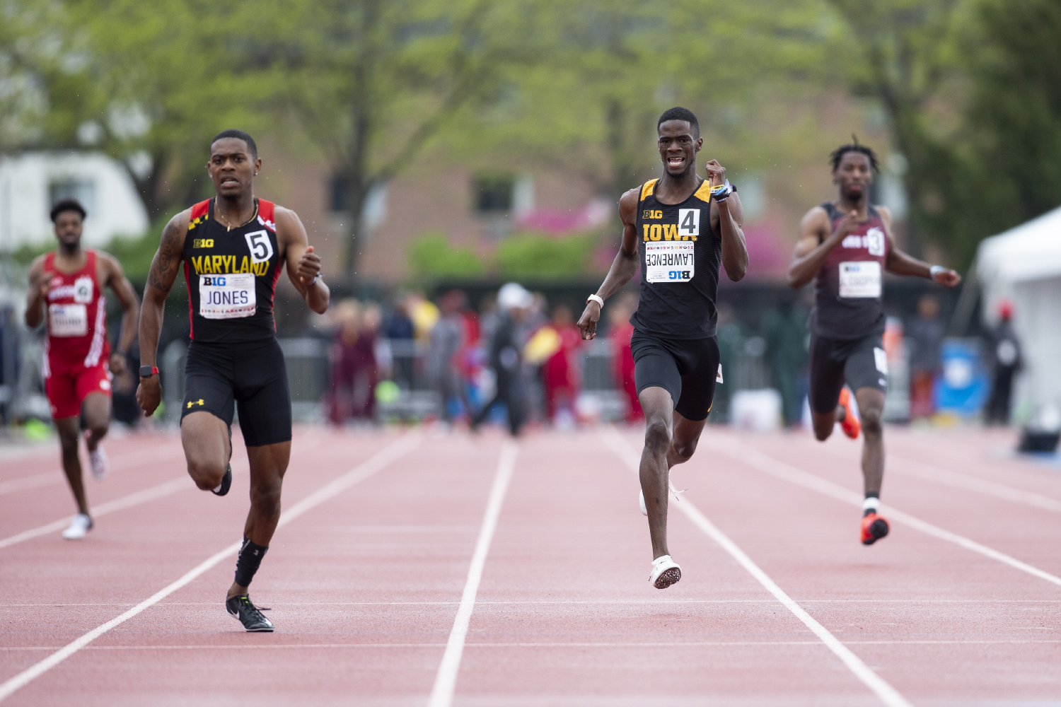 University of Iowa freshman Wayne Lawrence Jr. competes in the 400 meter dash preliminaries during the second day of the Big Ten Track and Field Outdoor Championships at Cretzmeyer Track on Saturday, May 11, 2019. Lawrence placed ninth in the 400 meter dash preliminaries.