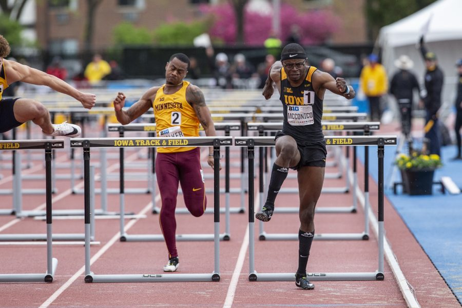 University of Iowa junior Jaylan McConico competes in the 110 meter hurdles during the second day of the Big Ten Track and Field Outdoor Championships at Cretzmeyer Track on Saturday, May 11, 2019. McConico placed fifth in the men 110 meter hurdles preliminaries.