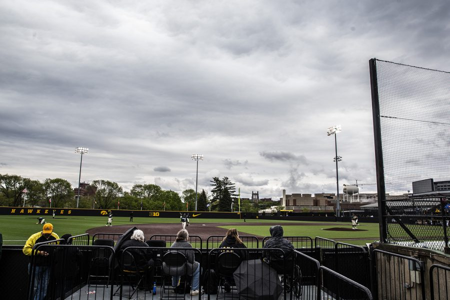 Fans+watch+a+play+during+the+baseball+game+against+Michigan+State+at+Duane+Banks+Field+on+Saturday%2C+May+11%2C+2019.+The+Spartans+defeated+the+Hawkeyes+9-4.