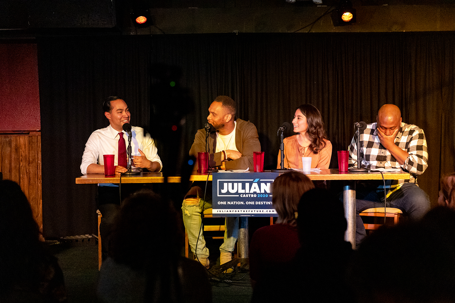 Julian Castro, former Secretary of Housing and Urban Development and current Democratic candidate for president appears on the Political Party Live podcast at The Mill on Sunday, Apr. 14, 2019.
