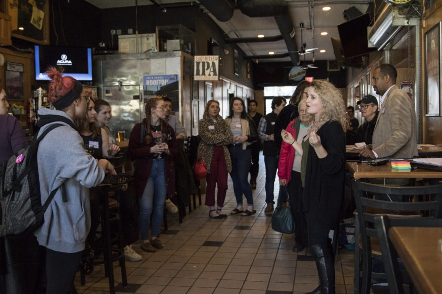 Supporters of Elizabeth Warren gather at the Iowa City Pints and Persist event in Joe's Place on April 2, 2019.