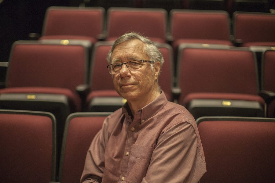 University of Iowa Theater Professor Alan MacVay poses for a portrait  in the Theater Building on Monday, May 6, 2019.
