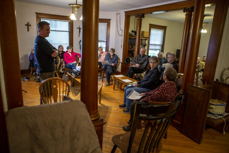 Iowa State Policy Organizing Director for the Iowa Citizens for Community Improvment, Adam Mason, speaks during a meeting at Catholic Worker House on Wednesday, May 1, 2019. The ICCI is working with other organizations to advocate for cleaner water across Iowa.