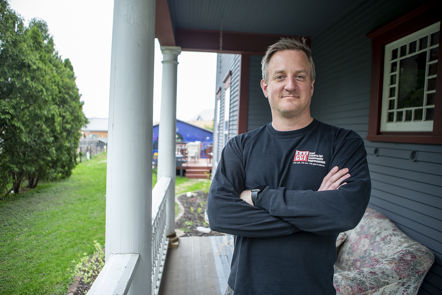 Iowa State Policy Organizing Director for the Iowa Citizens for Community Improvment, Adam Mason, poses for a portrait at Catholic Worker House on Wednesday, May 1, 2019. The ICCI is working with other organizations to advocate for cleaner water across Iowa. (Alyson Kuennen/The Daily Iowan)