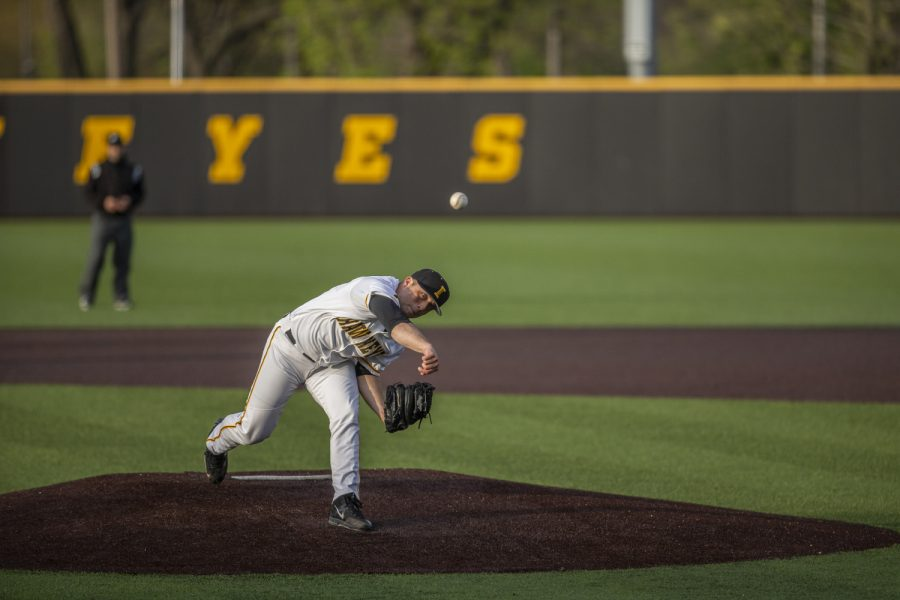 University+of+Iowa+Pitcher+Cole+McDonald+pitches+during+the+baseball+game+at+Duane+Banks+Stadium+on+Friday%2C+May+3%2C+2019.+The+Hawkeyes+beat+the+Eaters+6-3.+