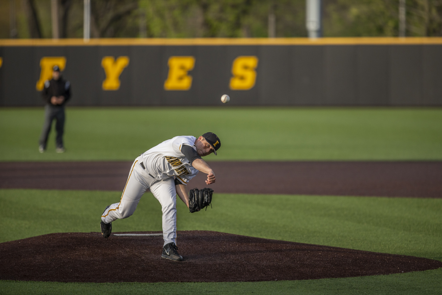 University of Iowa Pitcher Cole McDonald pitches during the baseball game at Duane Banks Stadium on Friday, May 3, 2019. The Hawkeyes beat the Eaters 6-3.