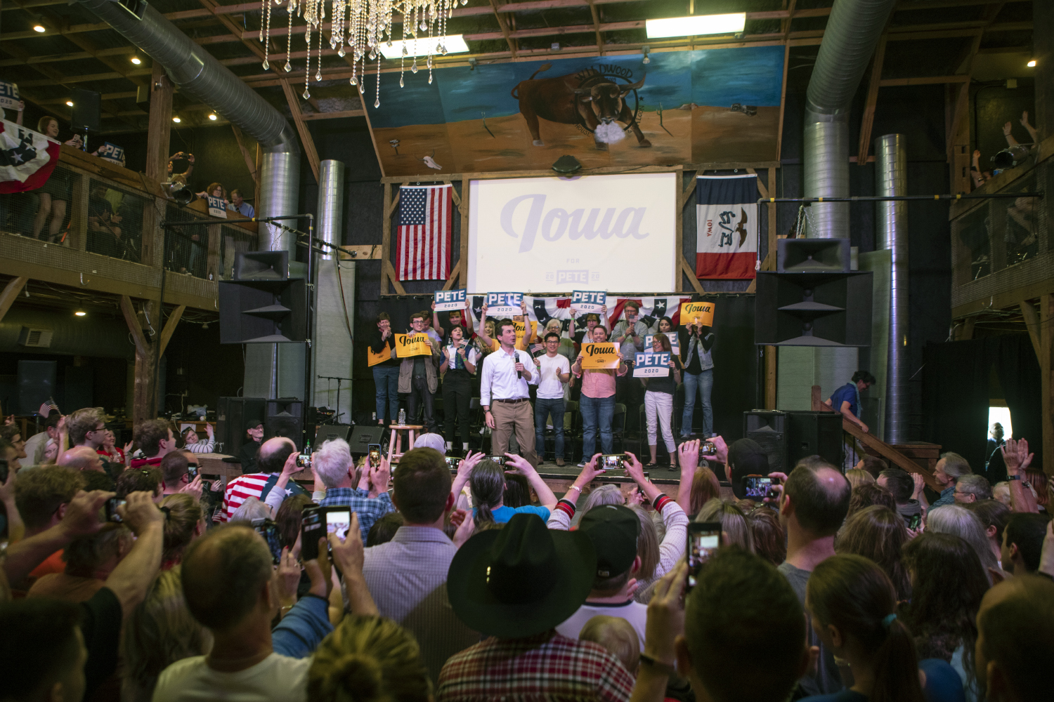 2020+Democratic+presidential-nomination+candidate++Pete+Buttigieg+speaks+during+the+town+hall+at+the+Wildwood+Smokehouse+%26+Saloon+on+May+18%2C+2019.+The+Iowa+City+event+marked+the+third+of+four+Iowa+campaign+stops+for+Buttigieg+this+weekend.+