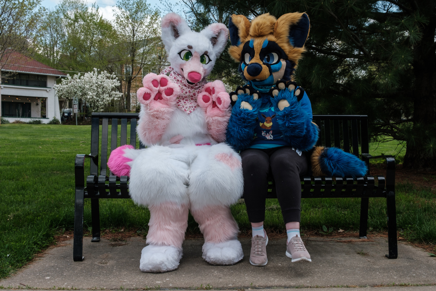 Vixie Valentine (left) and Salted Caramel (right) pose for a portrait in College Green park in Iowa City on Monday, May 6, 2019.