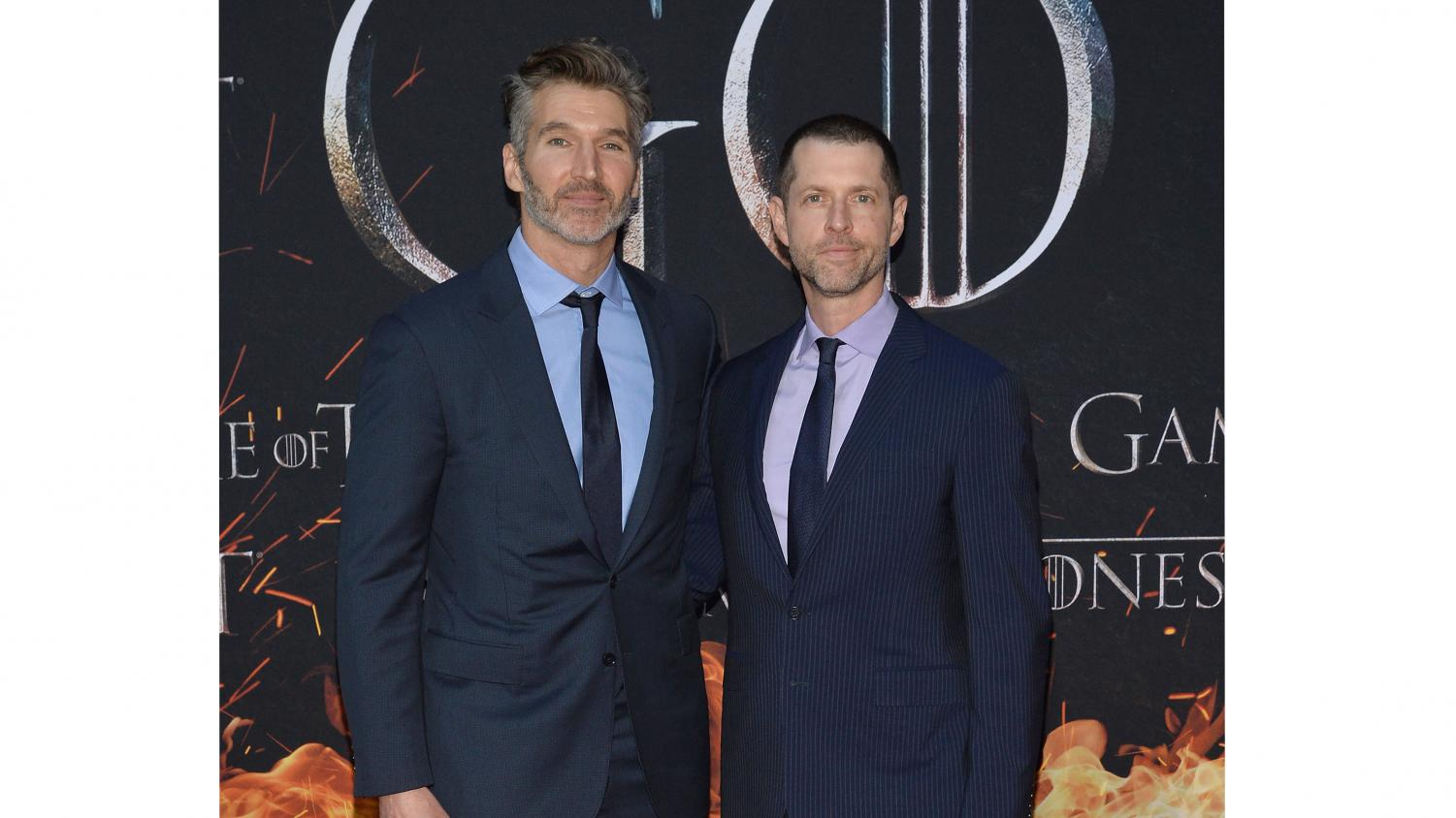 (L-R) David Benioff and D.B. Weiss attend HBO's Game of Thrones eight and final season premiere at Radio City Music Hall in New York, NY, April 3, 2019. (Anthony Behar/Sipa USA/TNS)