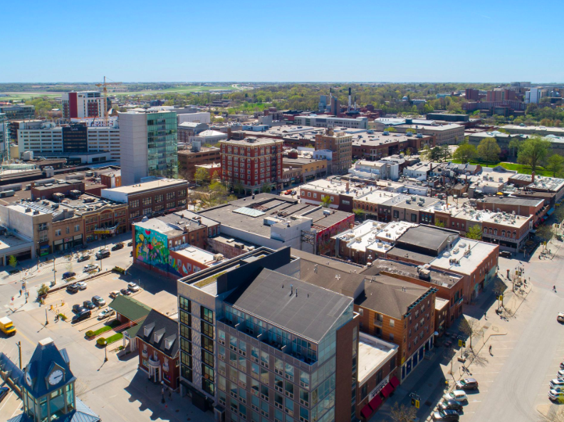 An arial view of 7 S. Linn St., a new sustainable housing development in Iowa City.