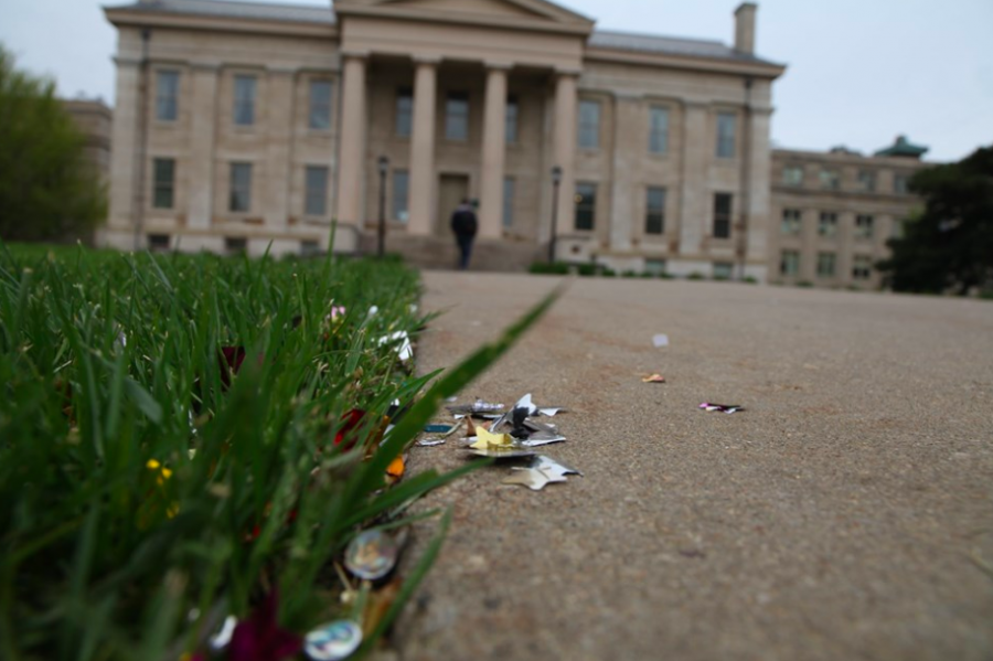 Litter on the Pentacrest is seen on Tuesday, May 7. (Courtesy of UI Pentacrest Museums.)