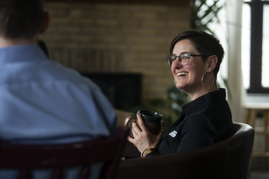 Rev. Anna Blaedel listens during a Bible study at the Wesley Center on Wednesday, May 1, 2019. Openly queer, Rev. Blaedel faced formal complaints by the United Methodist Church. (Alyson Kuennen/The Daily Iowan)