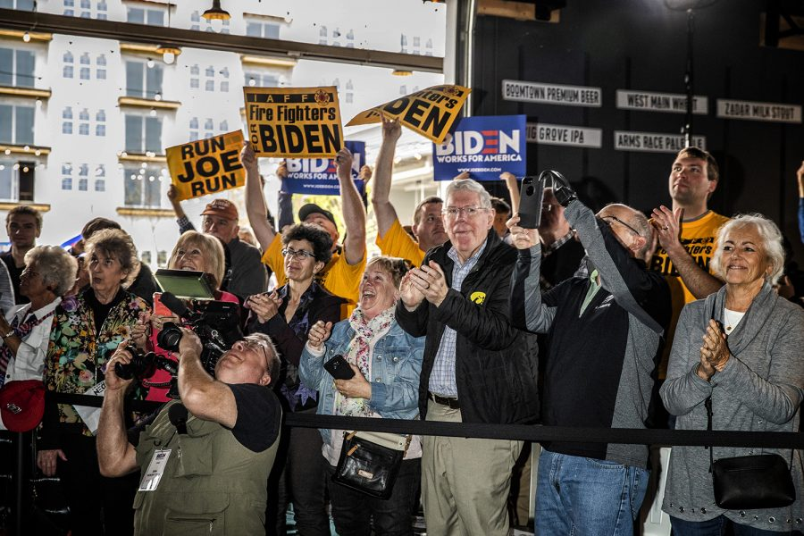 Attendees+cheer+for+Former+Vice+President+and+2020+Democratic+Presidential+candidate+Joe+Biden+at+Big+Grove+Brewery+in+Iowa+City+on+Wednesday%2C+May+1%2C+2019.+Iowa+City+was+the+second+stop+on+the+Iowa+Kickoff+Tour+for+the+Biden+campaign.