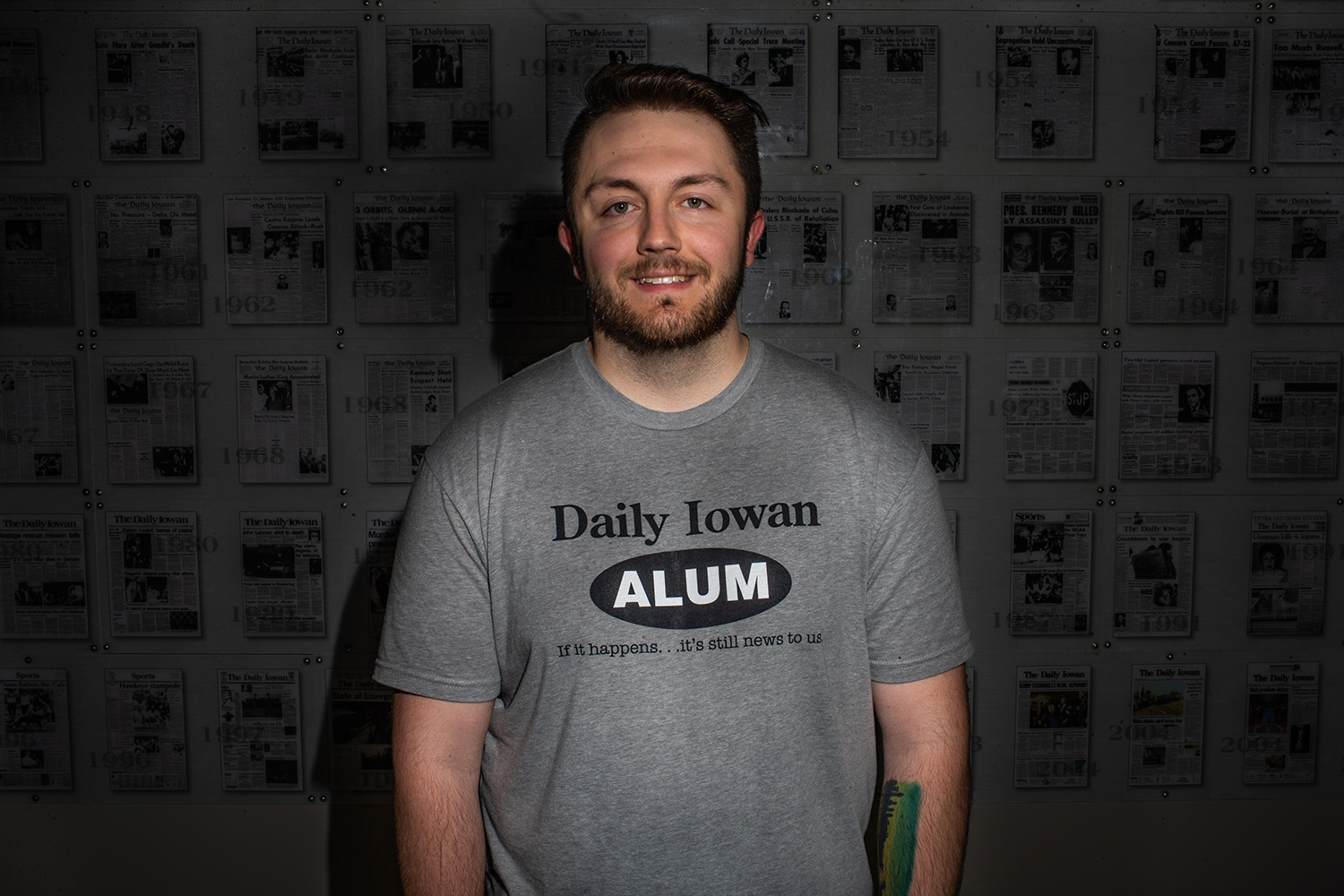 The Daily Iowan editor-in-chief Gage Miskimen poses for a portrait on Thursday, May 9, 2019. (Shivansh Ahuja/The Daily Iowan)
