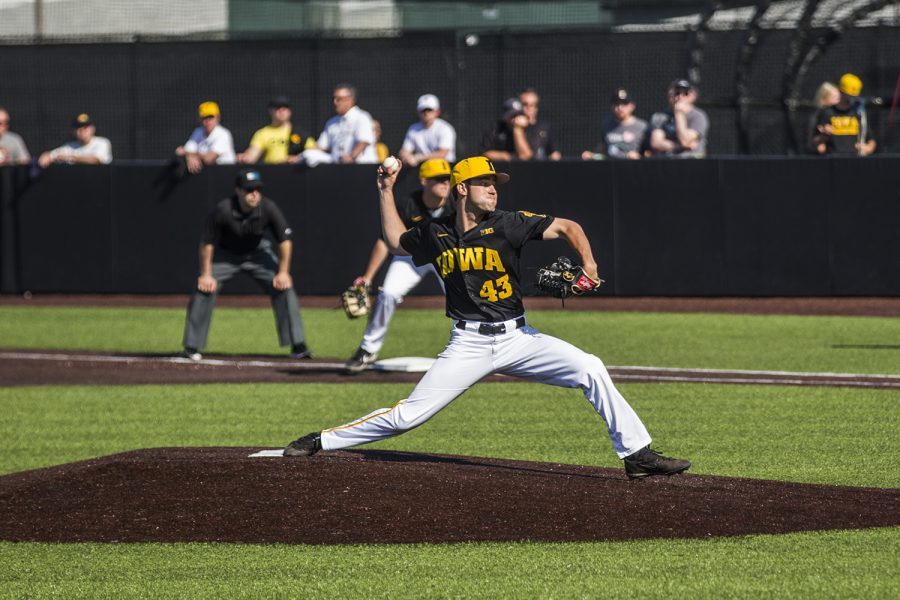 Iowa pitcher Grant Leonard prepares to throw the ball during the game against UC Irvine at Duane Banks Field on Saturday, May 4, 2019.