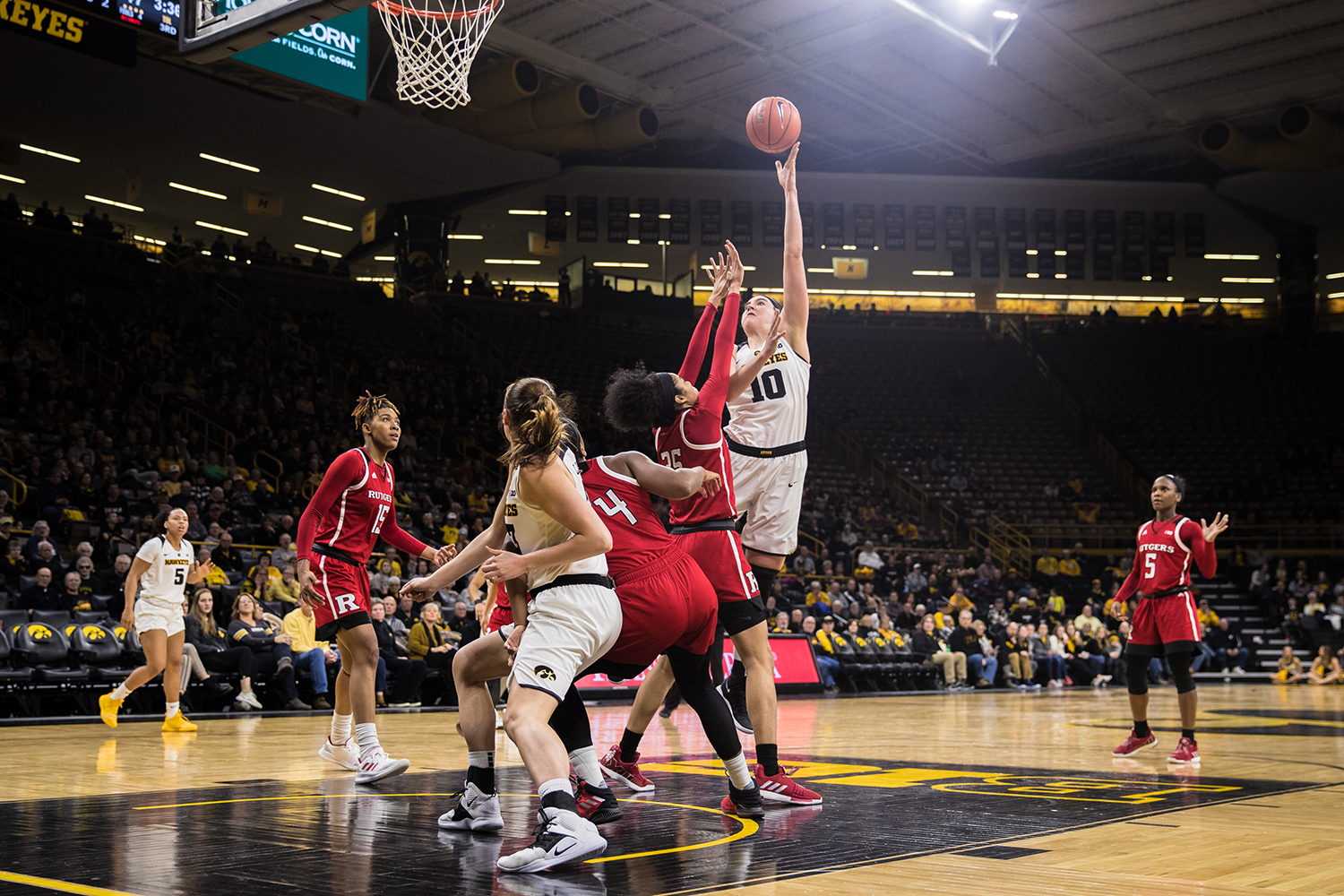 Iowa center Megan Gustafson lays the ball up during a women's basketball matchup between Iowa and Rutgers at Carver-Hawkeye Arena on Wednesday, January 23, 2019. The Hawkeyes defeated the Scarlet Knights, 72-66. (Shivansh Ahuja/The Daily Iowan)