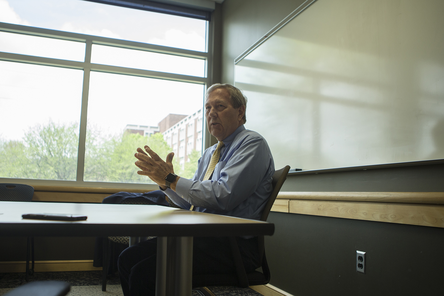University of Iowa President Bruce Harreld sits down for an interview with the Daily Iowan in the Adler Journalism Building on May 2, 2019.