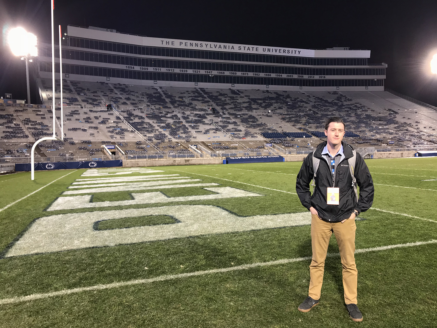 Adam Hensley poses for a portrait in Beaver Stadium in University Park, PA, on Saturday, October 27, 2019. (Nick Rohlman/The Daily Iowan)
