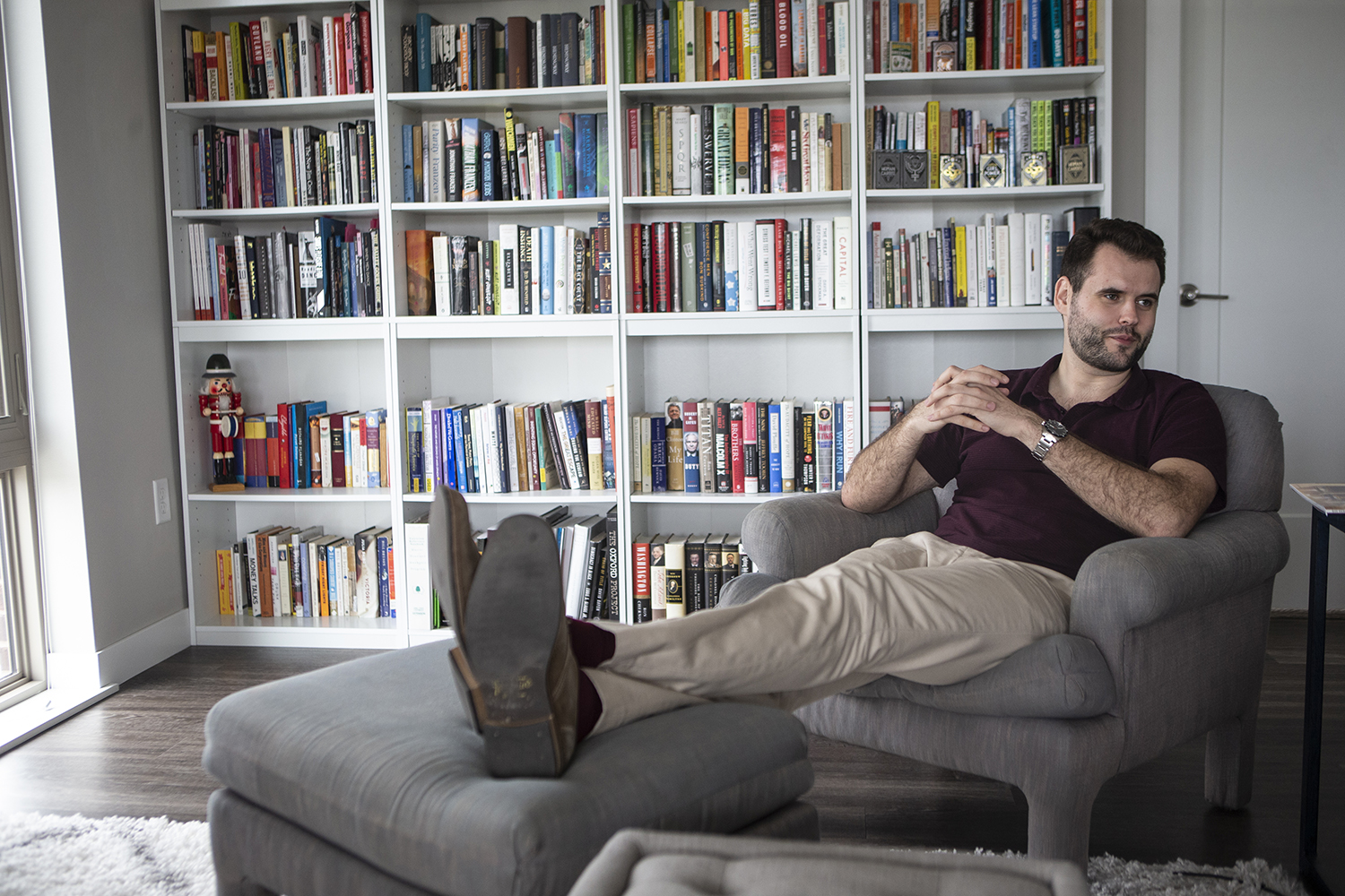 Senator Zach Wahls sits in his home in Coralville during an interview with The Daily Iowan on May 7,2019. (Katie Goodale/The Daily Iowan)