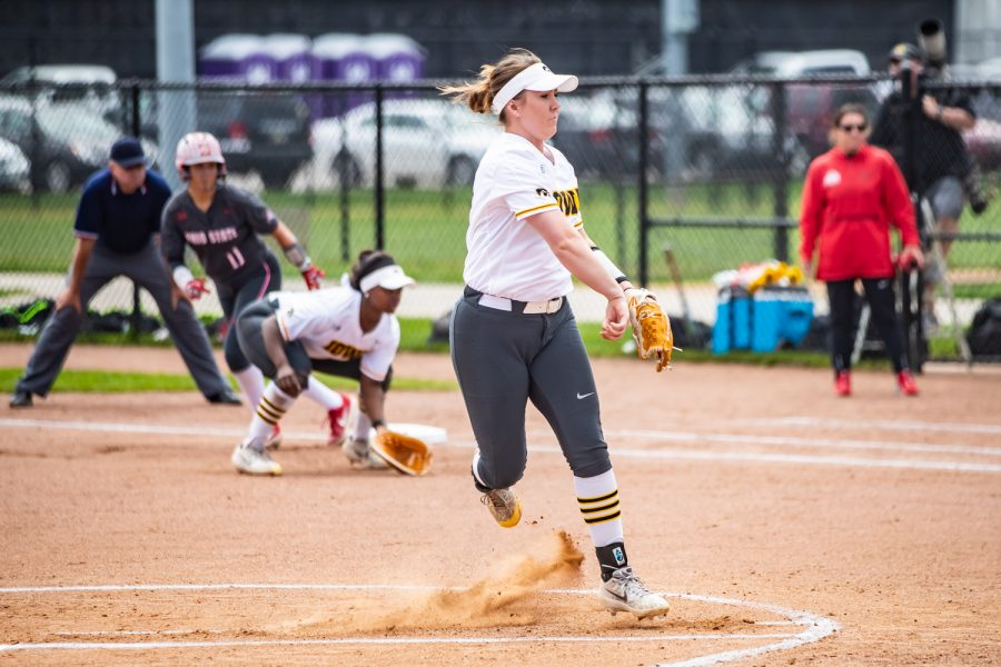 Iowa pitcher Erin Riding throws a pitch during a softball game between Iowa and Ohio State at Bob Pearl Field on Sunday, May 5, 2019. The Hawkeyes, celebrating senior day, fell to the Buckeyes, 5-0.
