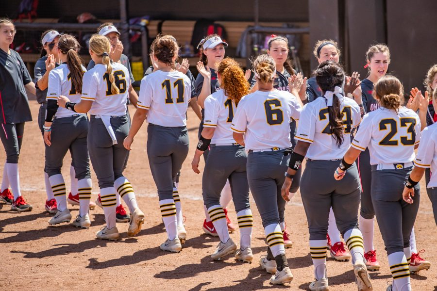 Players+line+up+after+a+softball+game+between+Iowa+and+Ohio+State+at+Bob+Pearl+Field+on+Sunday%2C+May+5%2C+2019.+The+Hawkeyes%2C+celebrating+senior+day%2C+fell+to+the+Buckeyes%2C+5-0.